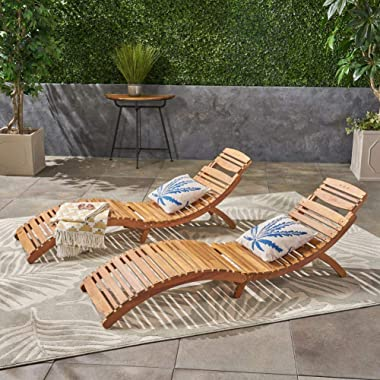 Christopher Knight Home Lahaina Wood Outdoor Chaise Lounge Set, 2-Pcs Set, Natural Yellow