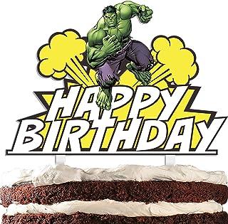 Green Superhero Cake Topper Cartoon Strong Superheroes Happy Birthday Theme Decor for Baby Shower Birthday Party Acrylic D...