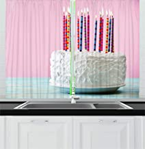 Lunarable Cake Kitchen Curtains, Slender Candles Ready to Be Blown on a Pastry with White Icing Celebration Thematic, Window Drapes 2 Panel Set for Kitchen Cafe Decor, 55