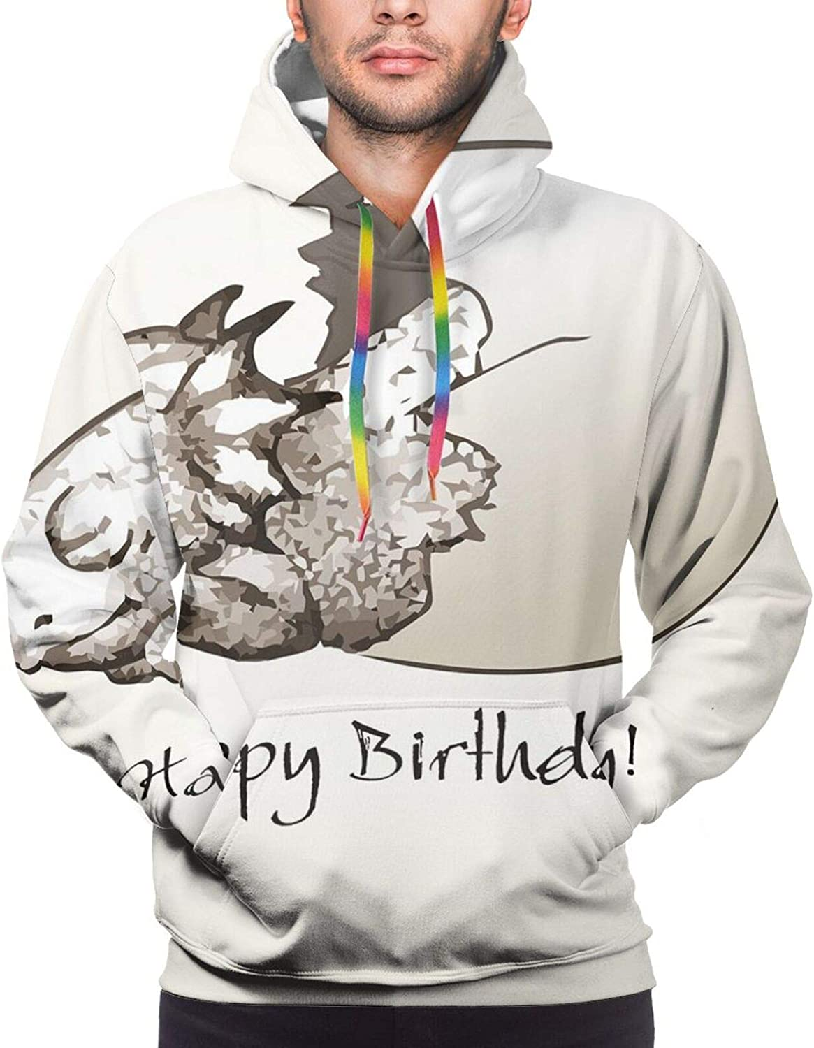 Men's Hoodies Sweatshirts,Happy Birthday Ribbon with Geometrical Castle Boat and Shapes Image Print