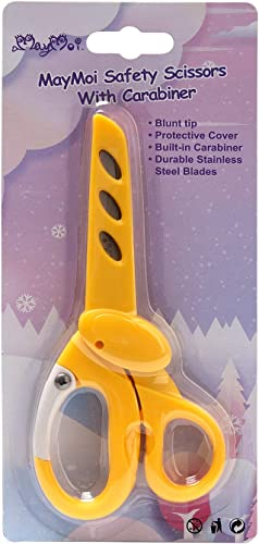 high quality MayMoi outlet online sale Blunt Tip Safety Kids Scissors with Carabiner (1 Pack, 6 Inch, 2021 Yellow) sale
