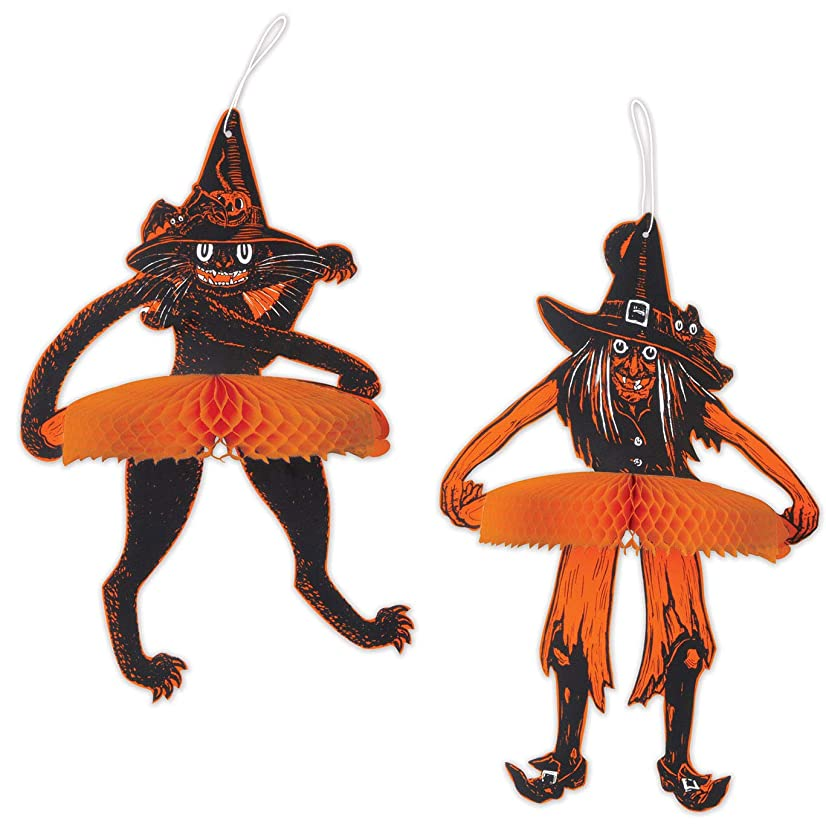 Beistle 00635 Vintage Halloween Tango Witch & Cat, 15