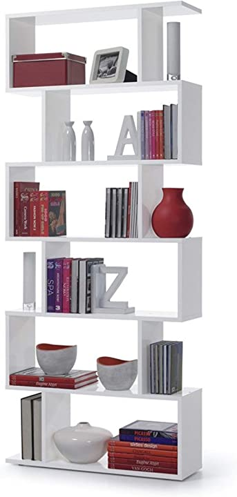 Libreria, melamina/legno, bianco lucido, 80x25x192 cm  13casa kafka a8 bricohabitat B00GEZFB86