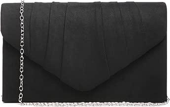 Dasein Womens Evening Bag Pleated Envelope Clutch Handbag Wedding Party Bridal Purse