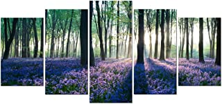 Pyradecor Early Morning Lavender Canvas Prints Wall Art Purple Floral Pictures Paintings for Bedroom Kitchen Bathroom Home Decor Modern 5 Panels Stretched and Framed Flowers Landscape Giclee Artwork