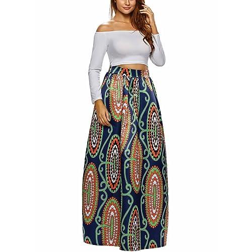 Afibi Women African Printed Casual Maxi Skirt Flared Skirt Multisize A Line  Skirt (S- 60ca283e8
