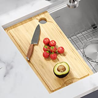 Kraus KCB-WS101BB Kore Solid Bamboo Cutting Board for Workstation Kitchen Sink (16 x 8 3/4