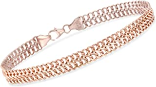 Ross-Simons Italian 14kt Rose Gold 2-Row Cable Bracelet