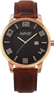 August Steiner Men's Ultra Thin Lightweight Slim Men's Watch - Rose Gold Tone Case around Black Dial with Big Numbers + Bo...