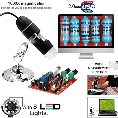 Microware 20X to 1000X 8LED USB 3D Digital Microscope Endoscope Magnifier PC Video Camera with Stand