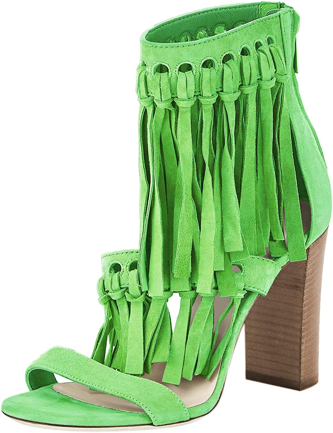NJ Women Fashion Open Toe Sandals Chunky Stacked High Heels Party Pumps shoes with Tassels Back Zipper