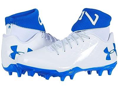 Under Armour Kids C1N MC Jr Football (Big Kid) (White/Team Royal/White) Kids Shoes