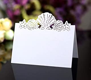 Cozy Villa 25 Pack Seating Place Cards 4.6'' x 3.5'' White Small Tent Cards with Seashell Laser Cut Border for Wedding Table Seating Charts