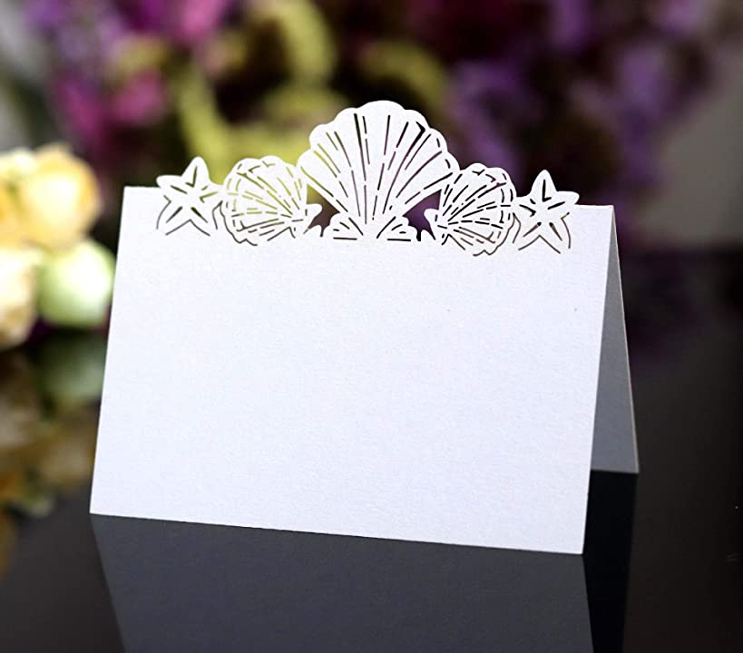 Cozy Villa 25 Pack Seating Place Cards 4.6'' x 3.5'' White Small Tent Cards with Seashell Laser Cut Border, Perfect for Wedding Table Seating Charts
