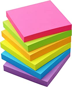 Sticky Notes 3x3 Self-Stick Notes Pads with 6 Bright Colors, Easy to Post for Office, Shool, Home, 6 Pads/Pack, 100 Sheets/Pad(Standard)