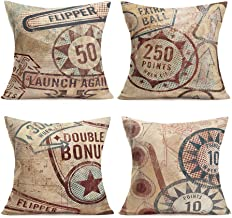 Smilyard Throw Pillow Covers VintagePinball Game Pattern Pillows Decorative Pillow Cover Cotton Linen Word Pillow Case Rustic Cushion Cover for Sofa 18x18 Inch Set of 4 (Pinball Game Set)