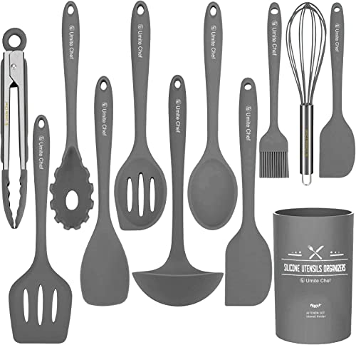 wholesale Silicone Kitchen Cooking outlet sale Utensil Set, Umite Chef 12PCS Kitchen lowest Utensils Spatula Set with Holder for Nonstick Cookware, BPA Free Non Toxic Cooking Gadgets Utensils Set, Kitchen Tools Gift(Gray) outlet sale