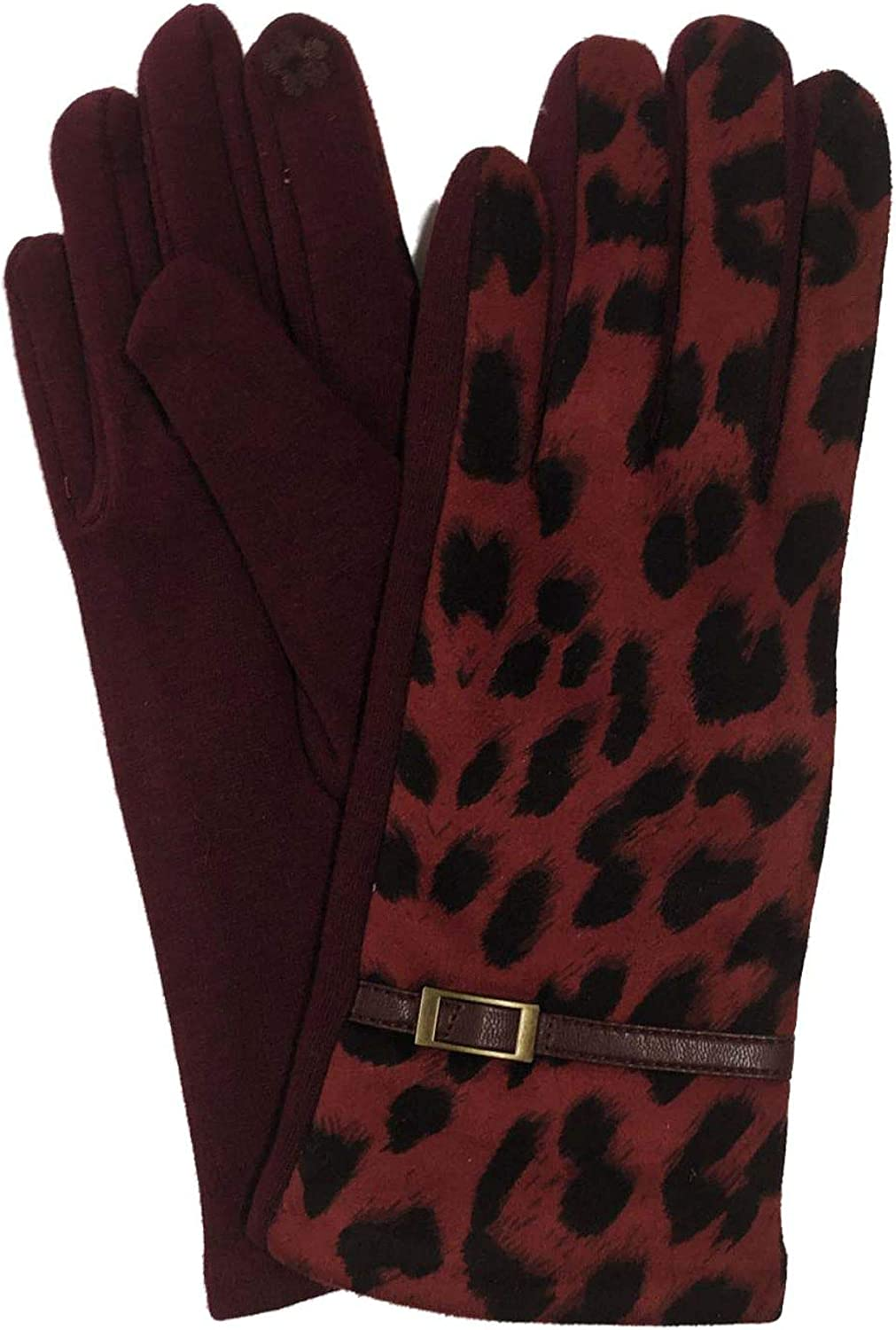 Womens Wine Red Leopard Print Stretch Fit Texting & Tech Touchscreen Gloves