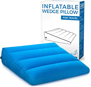 Circa Air Inflatable Wedge Pillow – For Travel, Acid Reflux, Sleeping Support. Travel Bed Wedge Pillow Inflates/Deflates Easily with Quick Valve. Large 27 x 27 x 8 (in) Portable, Lightweight & Compact