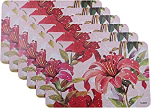 Kuber Industries Flower Design PVC 6 Pieces Dining Table Placemat Set (Pink), CTKTC013697