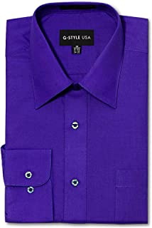 G-Style USA Men's Regular Fit Long Sleeve Solid Color Dress Shirts - Purple - X-Large - 36-37