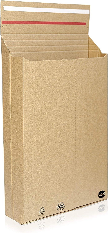 Pack 25unds XL 3 configuraciones- Cajas carton envios- sobre bolsa para envios- adaptable y resistente |37x28x8|envíos postales y ecommerce gracias a su forma de sobre con cierre autoadhesivo.