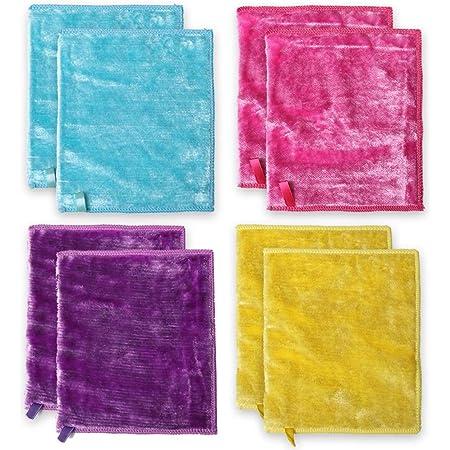 Rasati 雑巾 8枚セット 魔法クロス キッチンクロス 布巾 洗剤不要 業務用 家庭用 マイクロファイバークロス (18*23cm)