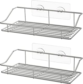 HEETA 2-Pack Shower Caddy, Adhesive Bathroom Shelf Wall Mounted, No Drilling Strong Shower Caddies Kitchen Racks - Stainle...