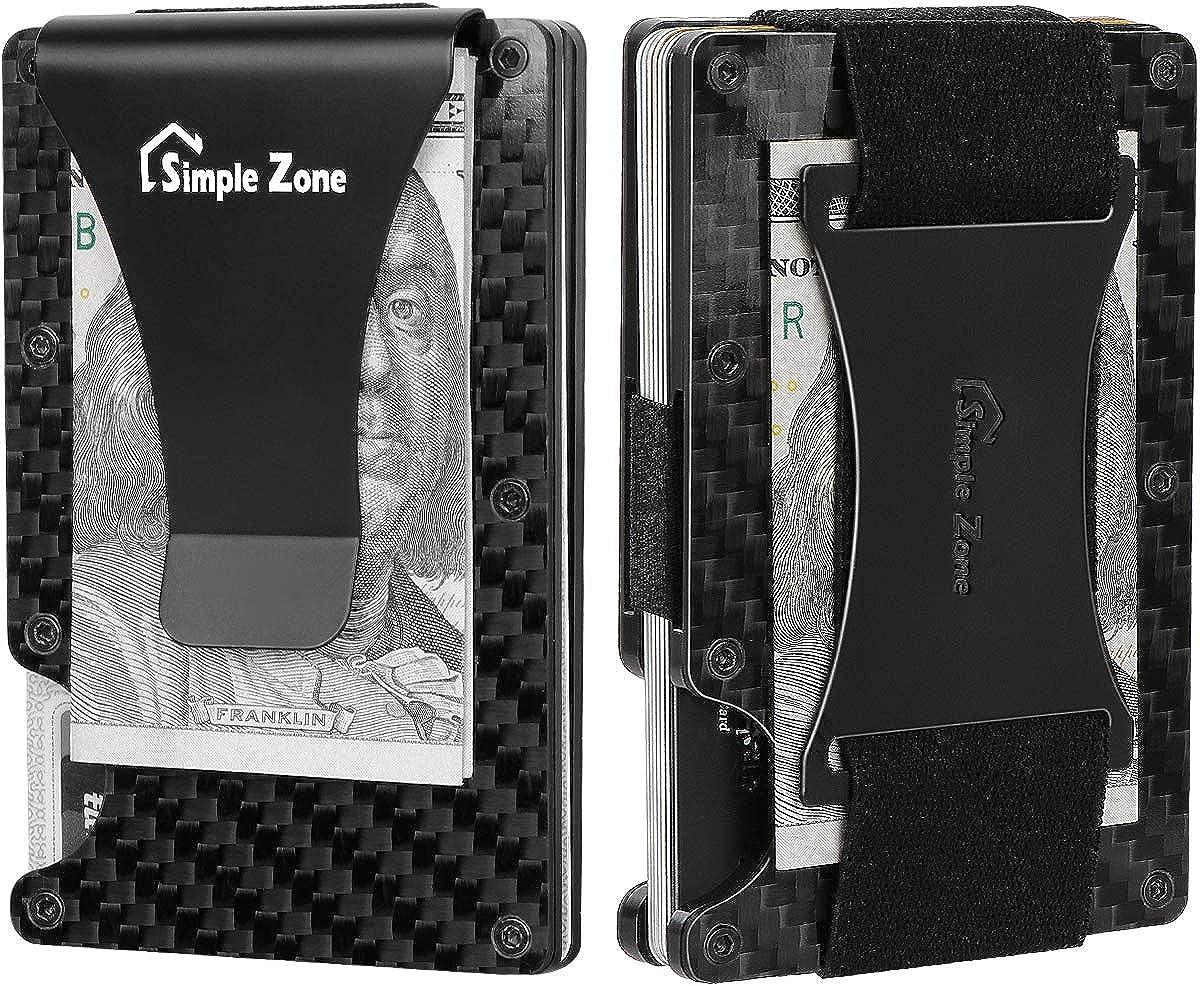 Carbon Fiber Wallet for Men, Simple Zone RFID Blocking Slim Minimalist Card Holder Wallet with Money Clip and Cash Strap.