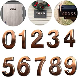 10 Pack Self Stick House Numbers 0 to 9 Address Sign Solid Stickers for Mailbox Apartment Hotel Door 2.75 inch High Bronze & Silver (10 Pack 0-9 2.75