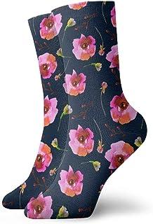 14春の色手描きのバラと花(濃い青_6099) 絵画アートプリント面白いノベルティ動物カジュアルコットンクルーソックス11.8インチ