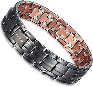 Mens Matt Gun Black Copper Double Row Magnetic Therapy Bracelets for Arthritis Wristband Adjustable (Matt Gun Black)