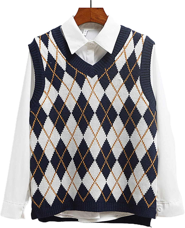 Women's Knitted Cotton V-Neck Vest JK Uniform Pullover Y2k 90s E-Girl Sleeveless Crop Sweater School Cardigan (Checkered Navy Blue,Medium)