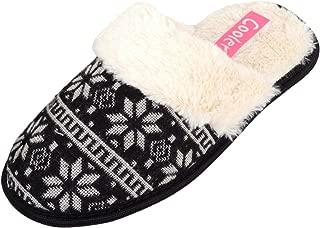 ABSOLUTE FOOTWEAR Ladies/Womens Slip On Slippers/Mules/Indoor Shoes with Snowflake Design