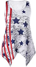 Gopeak Sleeveless 4th of July Shirts for Women Lace Neck Plus Size Tank Tops Loose American Flag Print T-Shirt