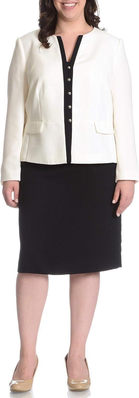 Tahari ASL Womens Plus Shawn Contrast Trim 2PC Skirt Suit Ivory 22W