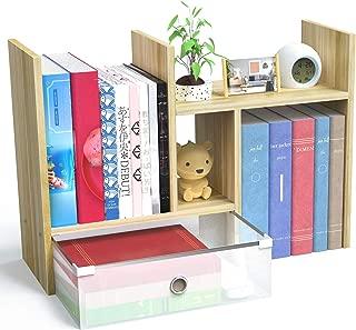 POPQ ブックスタンド 本立て デスク上 伸縮型本棚 引き出し付き 学生本立て 多様放置事務用品収納 (くるみ色)