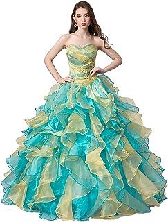 Engerla Women`s Organza Rhinestones Beading Floor-Length Lace-up Prom Ball Gown
