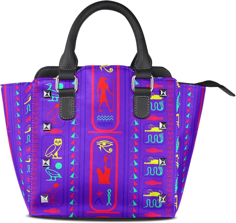 My Little Nest Women's Top Handle Satchel Handbag Egyptian Symbols Ladies PU Leather Shoulder Bag Crossbody Bag