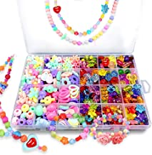 Bead KidsSet for Jewelery Making - Craft Beads Kits for Little Girls DIY Necklaces Bracelet Children Games,Gift for Kids. Jewelry Beads for Kids,Craft Bead Kit(color4),HUATK