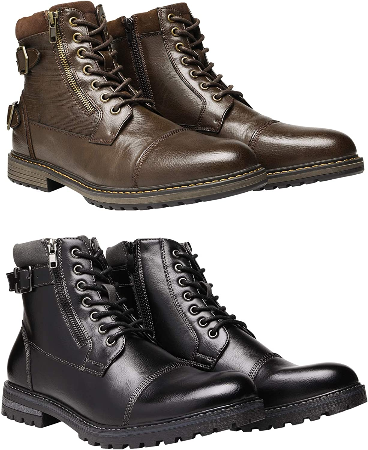 Bruno Marc Men's Motorcycle Boots Bundle with Men's Oxford Boots Size 7