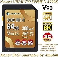 64GB UHS-II V90 SDXC SD Card - Amplim Blazing Fast 300MB/s (2000X) UHSII U3 Extreme High Speed 64 GB SD XC Memory Card for 4K 8K UHD Video Camera Camcorder. 64G TF Flash Storage – New Sept 2019