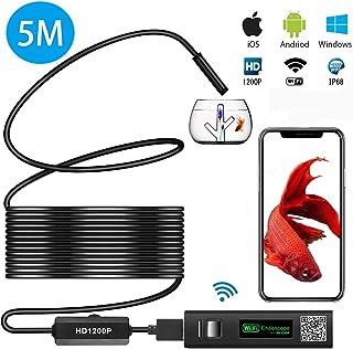 ワイヤレス内視鏡カメラ USB wifi接続 1200P 超高画質 スマホ タブレット iphone android ios pc対応 ファイバースコープ 8mm極細レンズ 録画可能 エンドスコープ IP68防水 8LEDライト 硬性 設備の点...