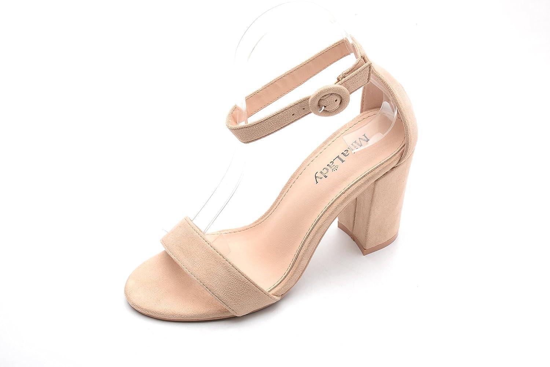 Mila Lady Penny Single Band Ankle Strap Floral Chunky Elegance Platform Lady Heels