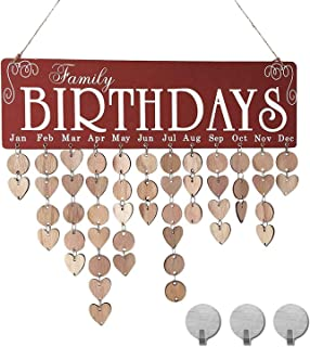 Family Birthday Calendar, Senyida Family Friends Reminder Wooden Crafts Wall Hanging Plaque Board Important Days Love Notes Creative Gift DIY Wood Craft for Home Decorative