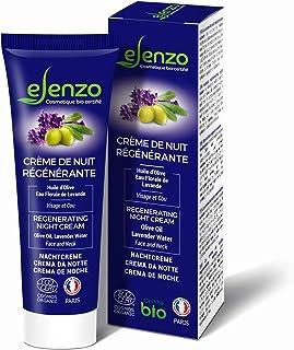 eLenzo • Crema de Noche Certificada BIO • Hidratante para Rostro y Cuello • Aceite de Oliva y Karité Agua de Lavanda • CO...