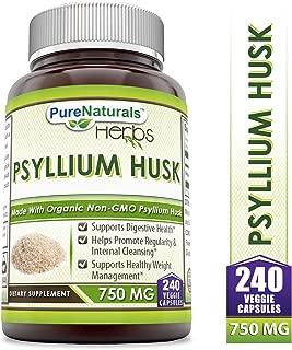 Pure Naturals Psyllium Husk - 750 mg Platango Ovata Fiber Capsules Veggie Capsules (240 Count)