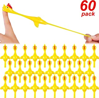 Blulu 60 Pieces Slingshot Chicken Flick Chicken Flying Toys Sticky Funny Rubber Chickens