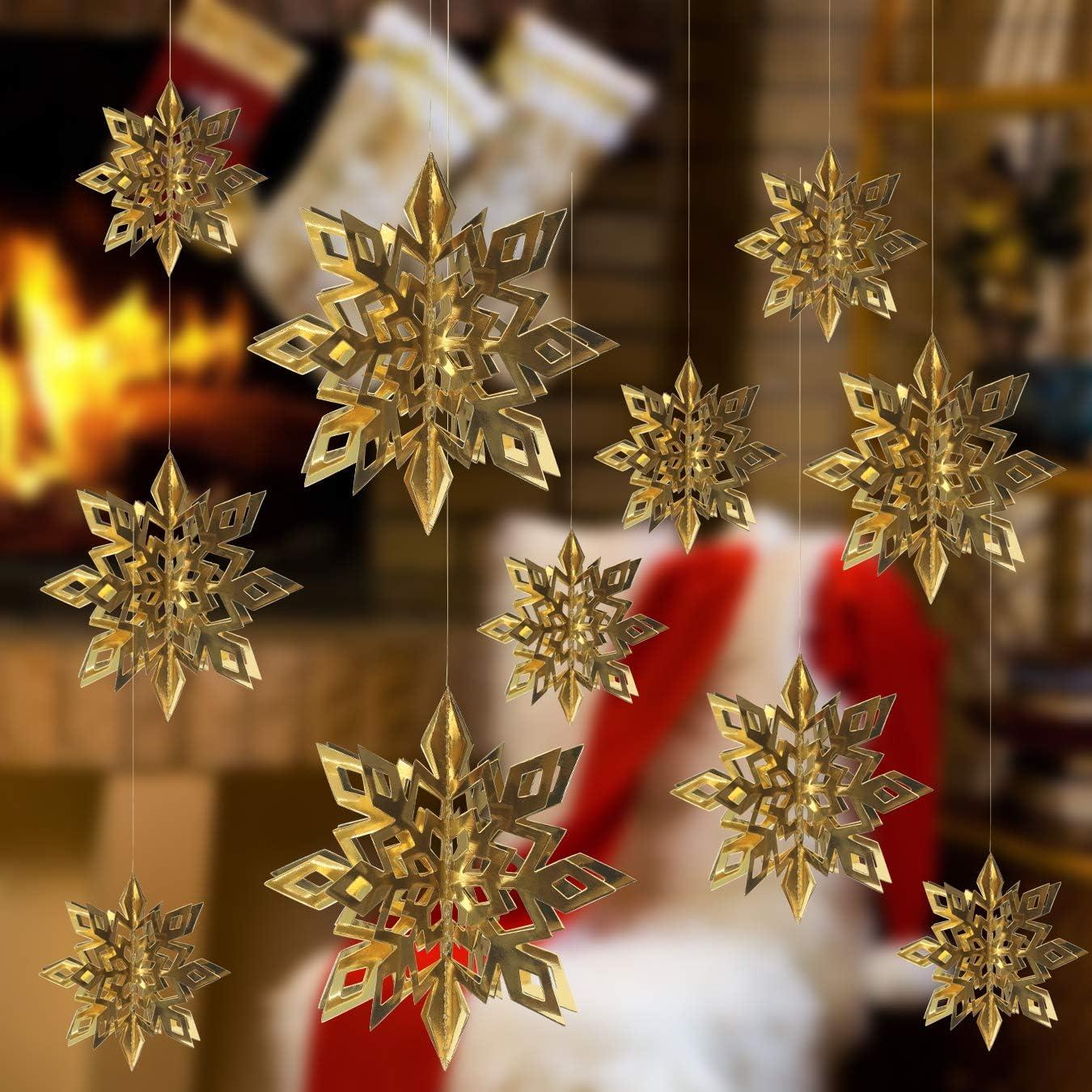 escaparates de invierno fiestas 18 guirnaldas de copos de nieve 3D para decoraci/ón de cumplea/ños Alagirls ALA-XMAS001-White color blanco