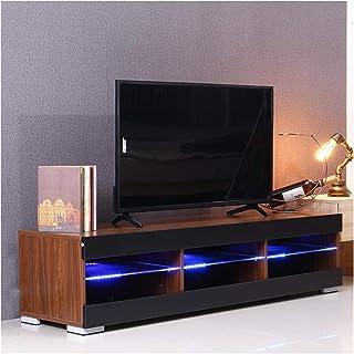 Living Room Locker White Black TV Table Bedroom TV Shelf Cabinet with Shelf Living Room Furniture Annacboy (Color : Wood)